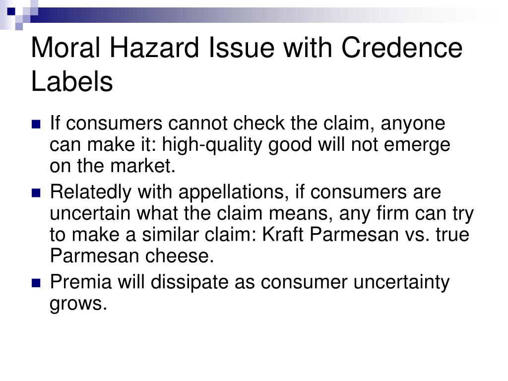 Moral Hazard Issue with Credence Labels