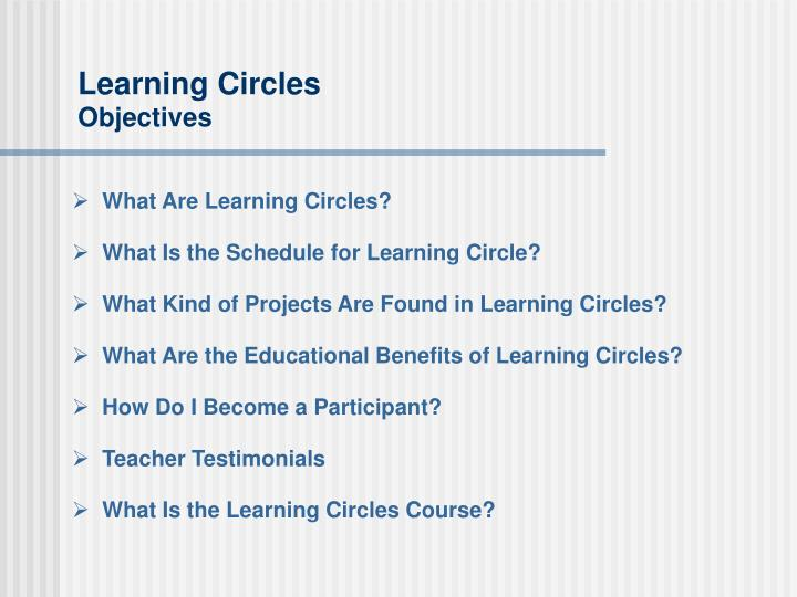 Learning circles objectives