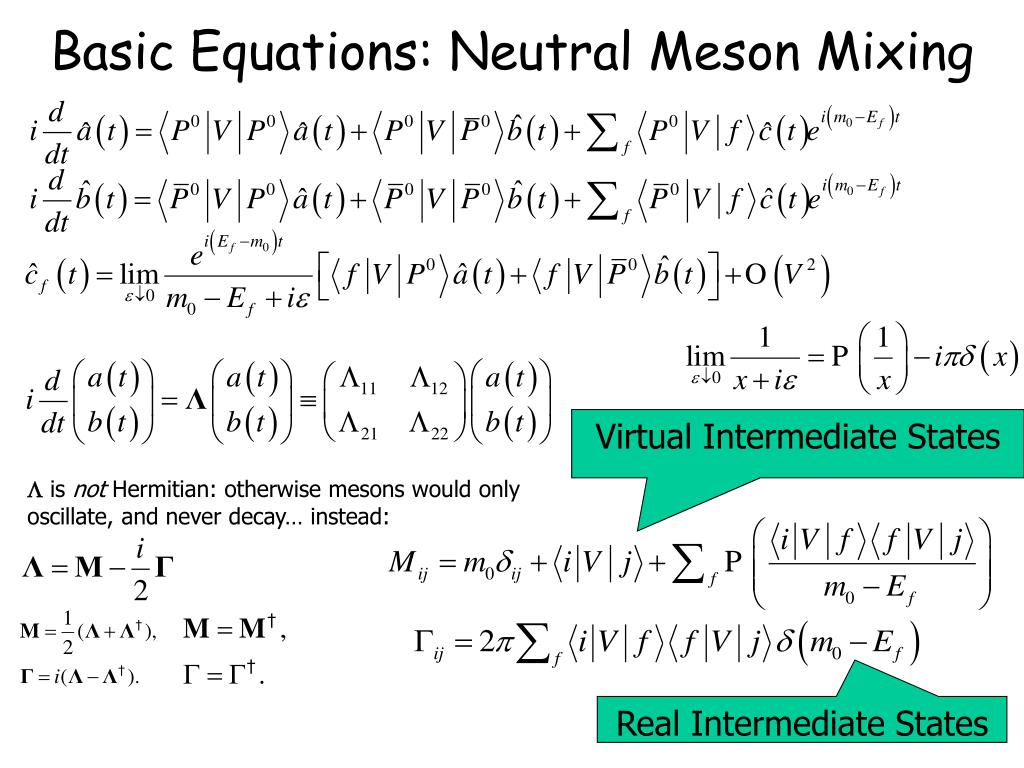 Basic Equations: Neutral Meson Mixing
