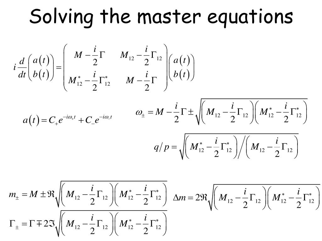 Solving the master equations