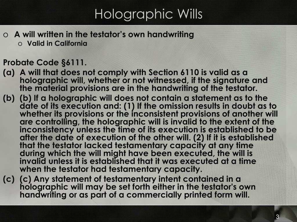 Holographic Wills