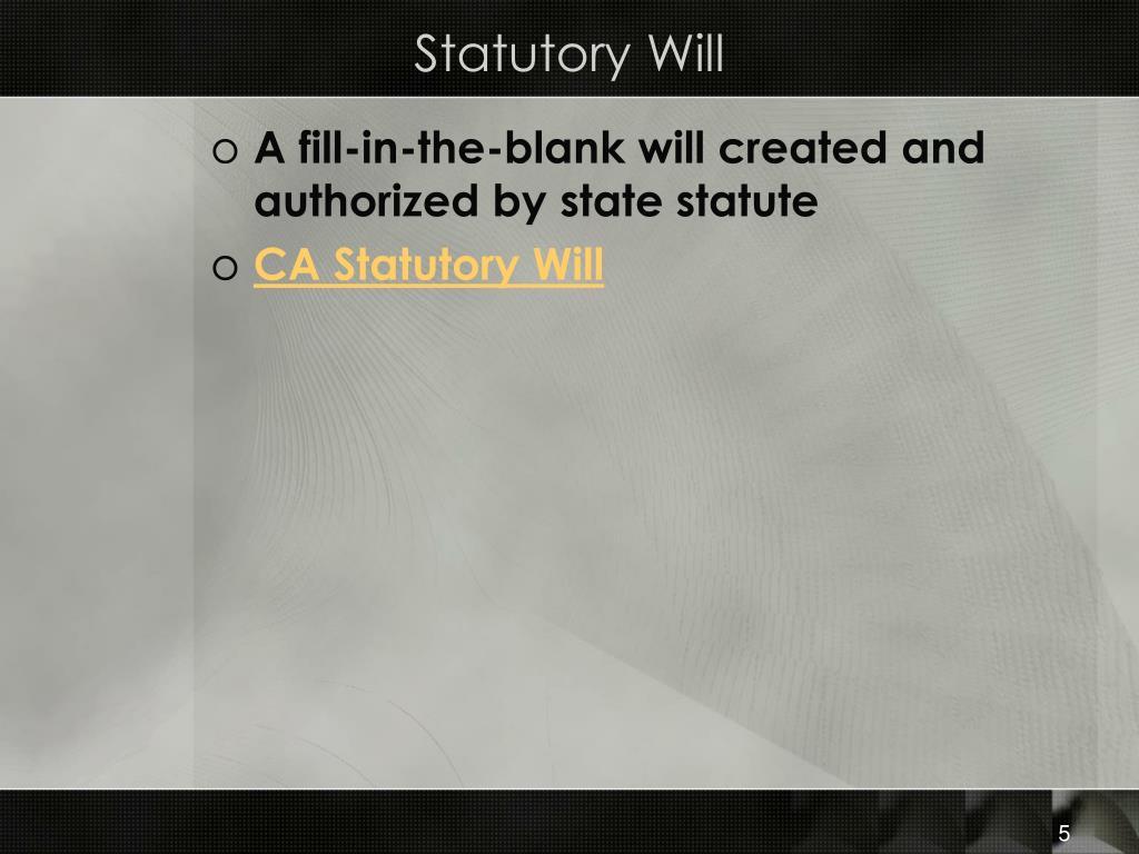 Statutory Will