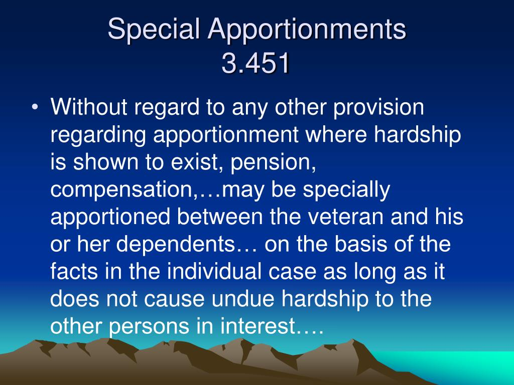 Special Apportionments