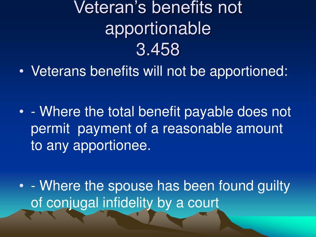 Veteran's benefits not apportionable