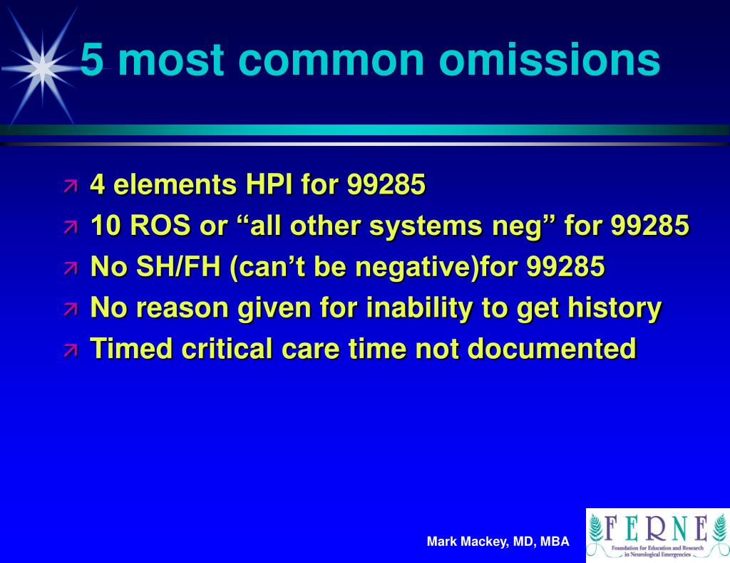 5 most common omissions