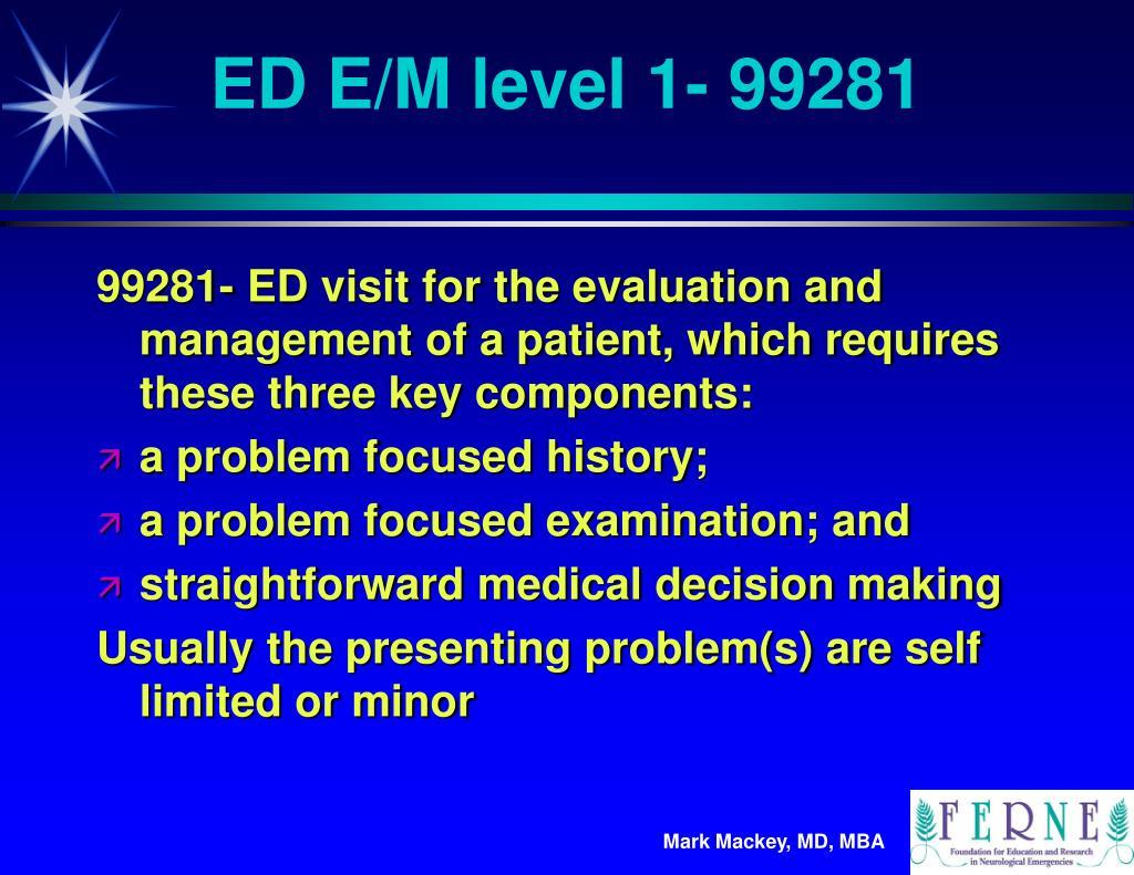ED E/M level 1- 99281