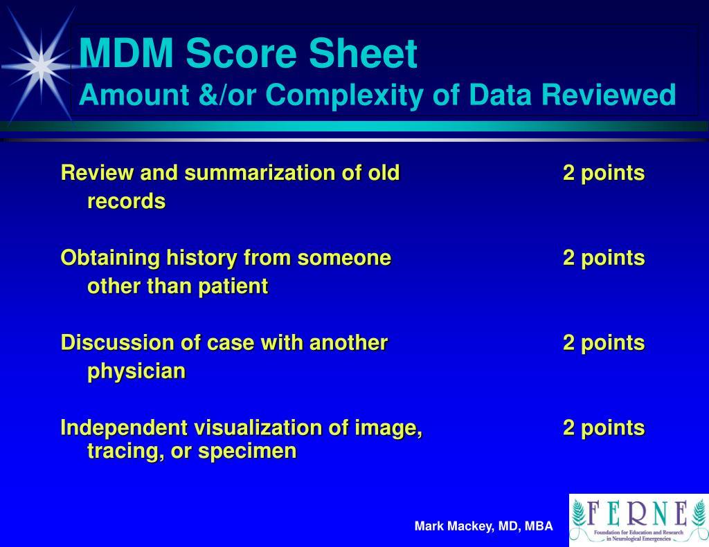 MDM Score Sheet