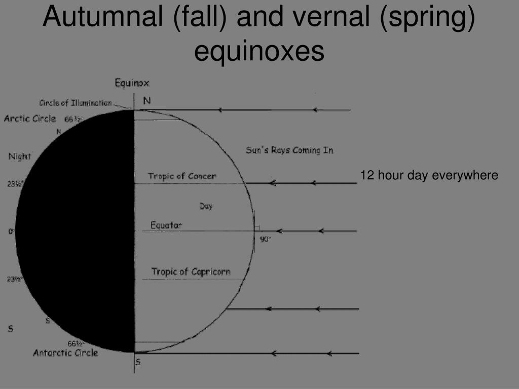 Autumnal (fall) and vernal (spring) equinoxes