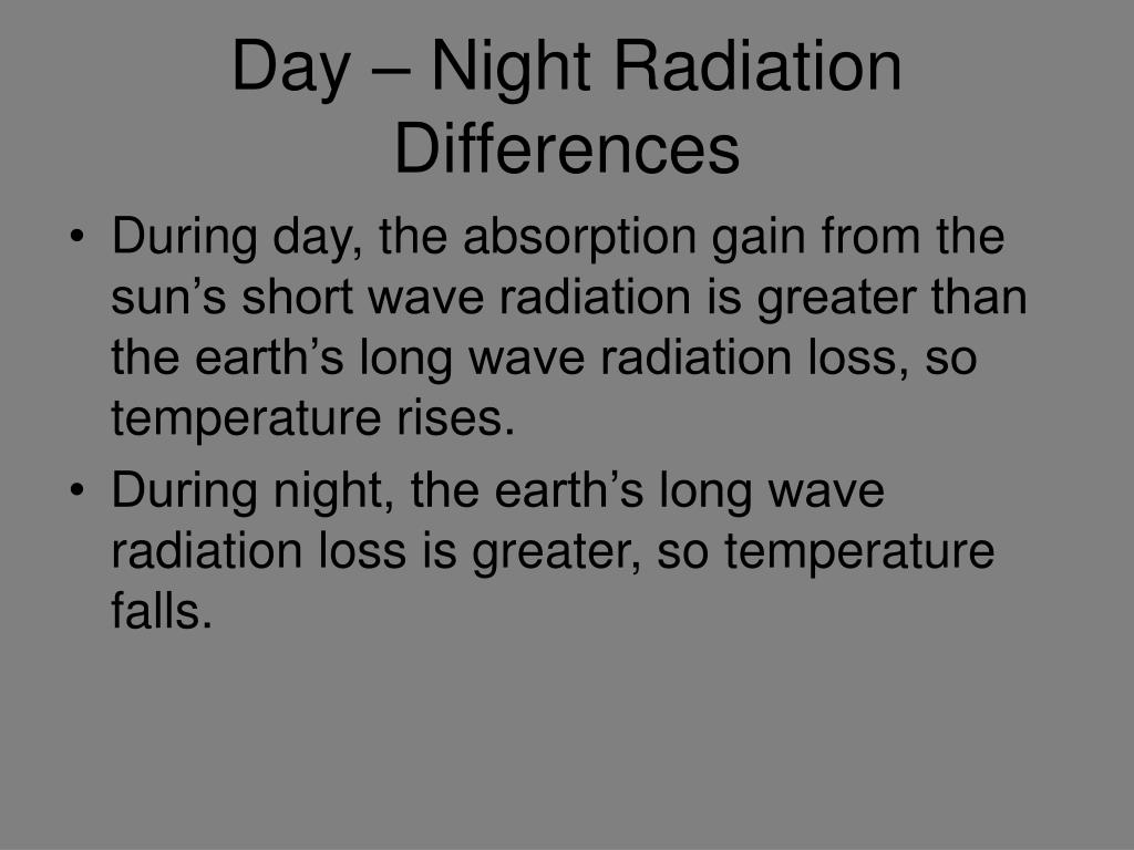 Day – Night Radiation Differences
