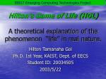hilton s game of life hgl a theoretical explanation of the phenomenon life in real nature
