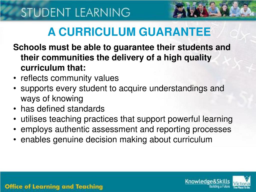 A CURRICULUM GUARANTEE