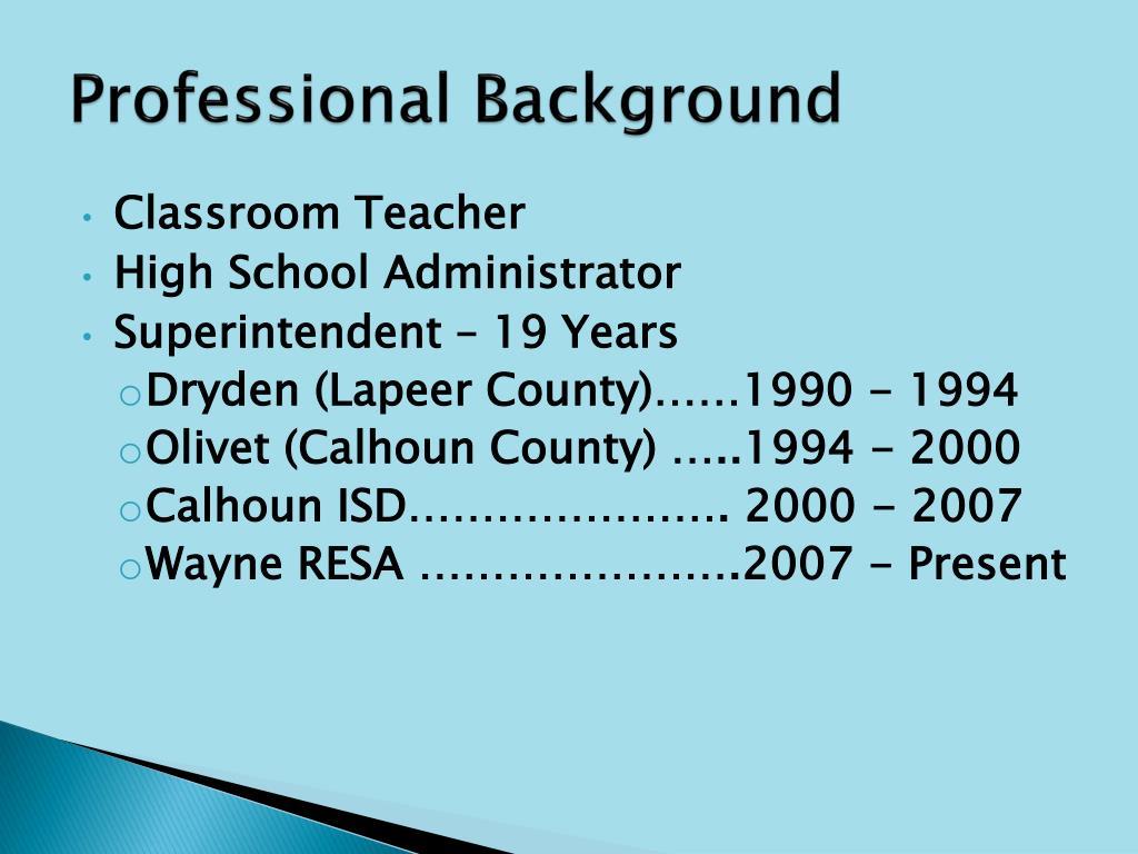 Professional Background