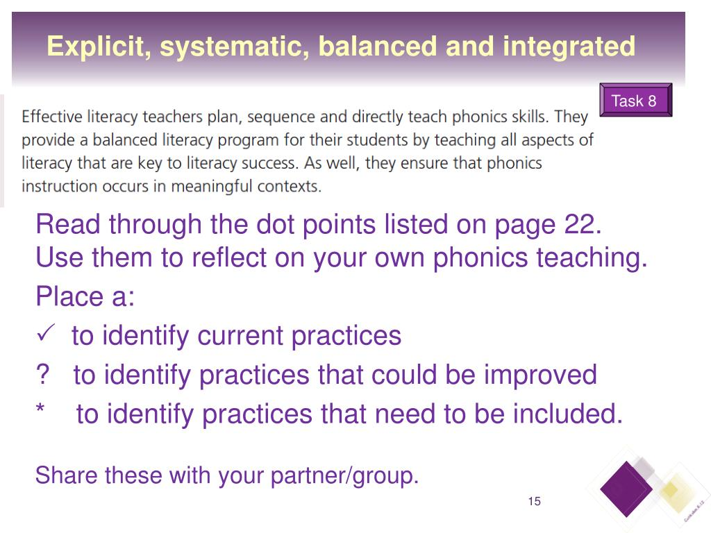 Explicit, systematic, balanced and integrated