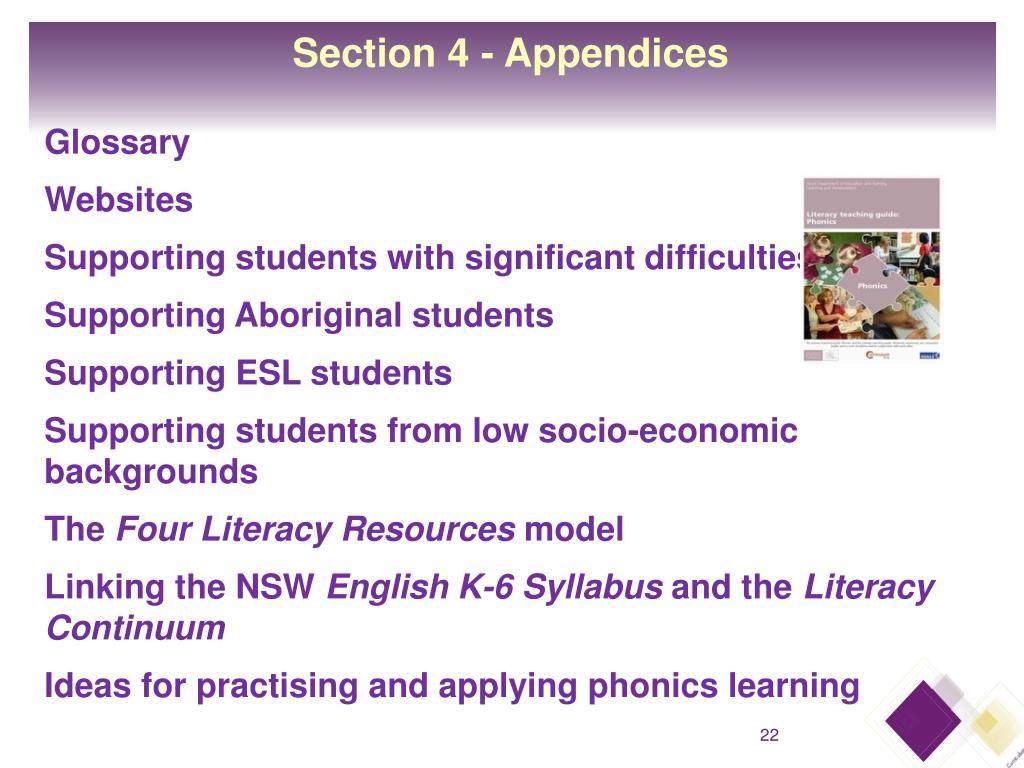 Section 4 - Appendices