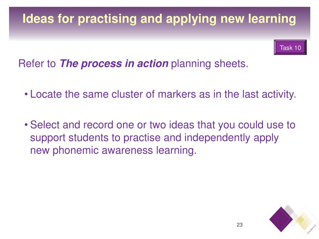 Ideas for practising and applying new learning