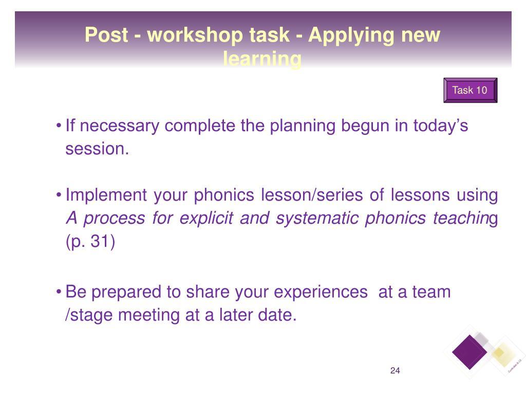 Post - workshop task - Applying new learning