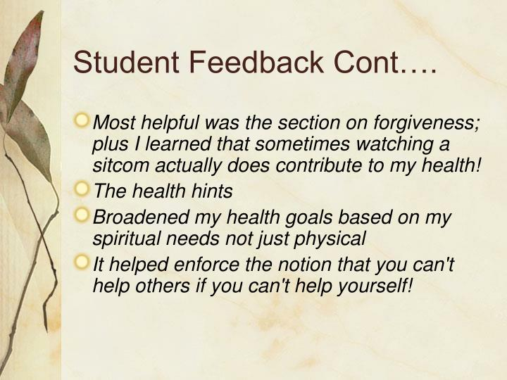 Student Feedback Cont….