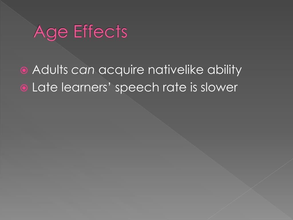 Age Effects