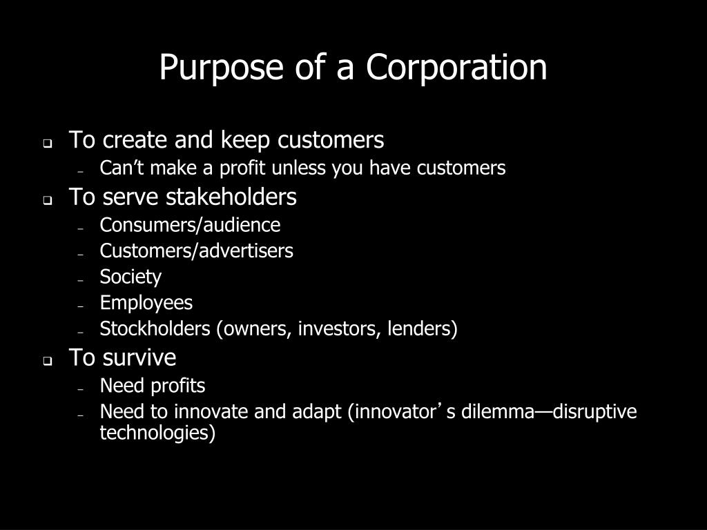 Purpose of a Corporation