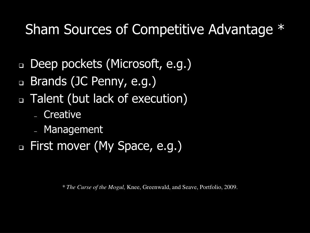 Sham Sources of Competitive Advantage *