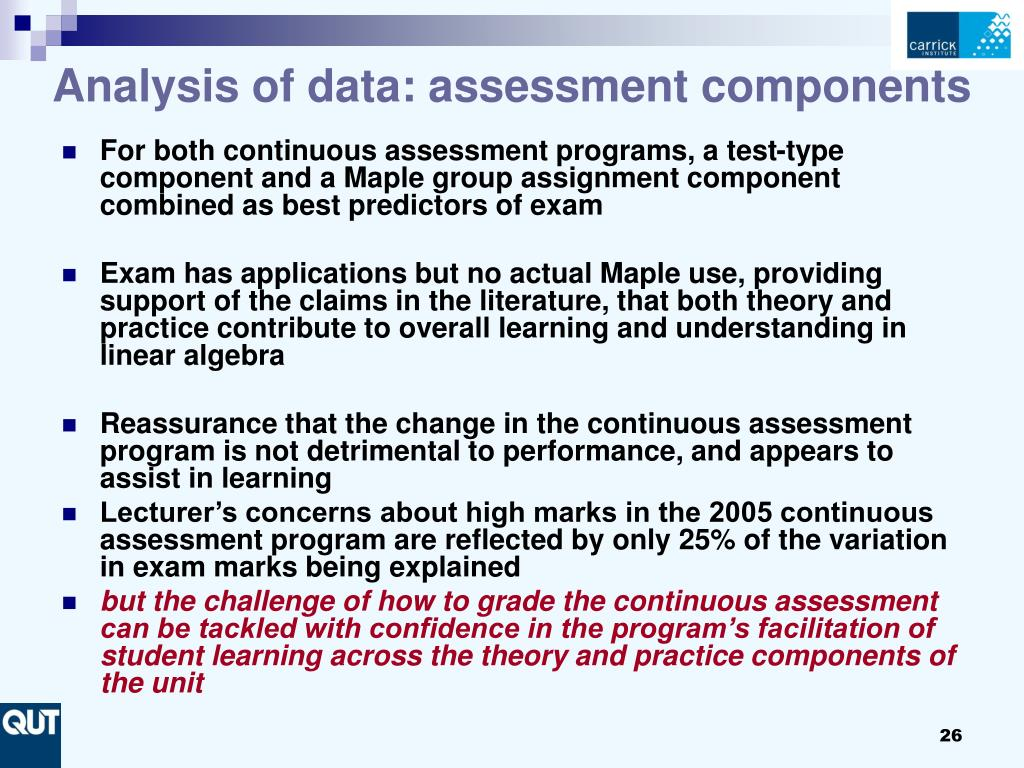Analysis of data: assessment components