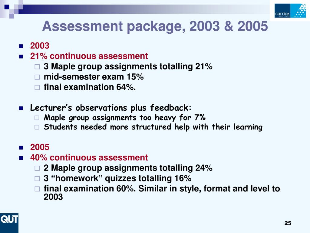 Assessment package, 2003 & 2005