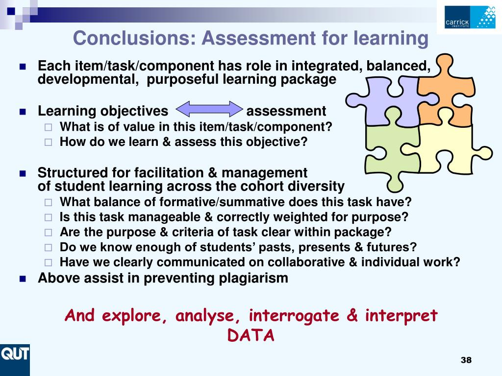 Conclusions: Assessment for learning
