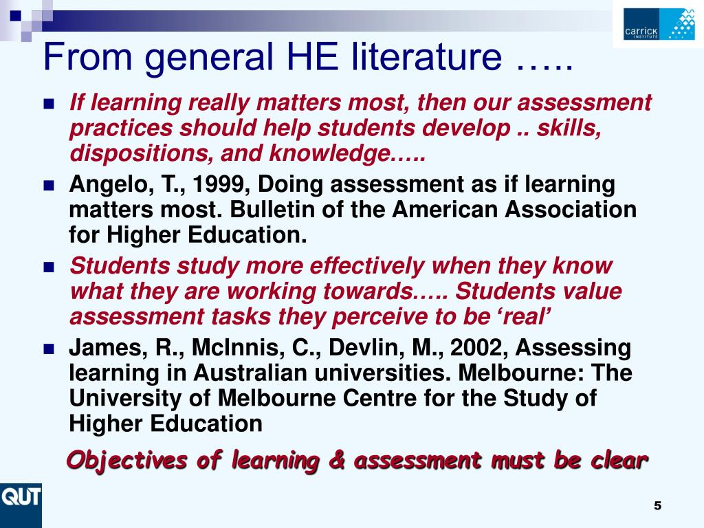 From general HE literature …..