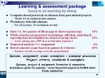learning assessment package focus is on learning by doing