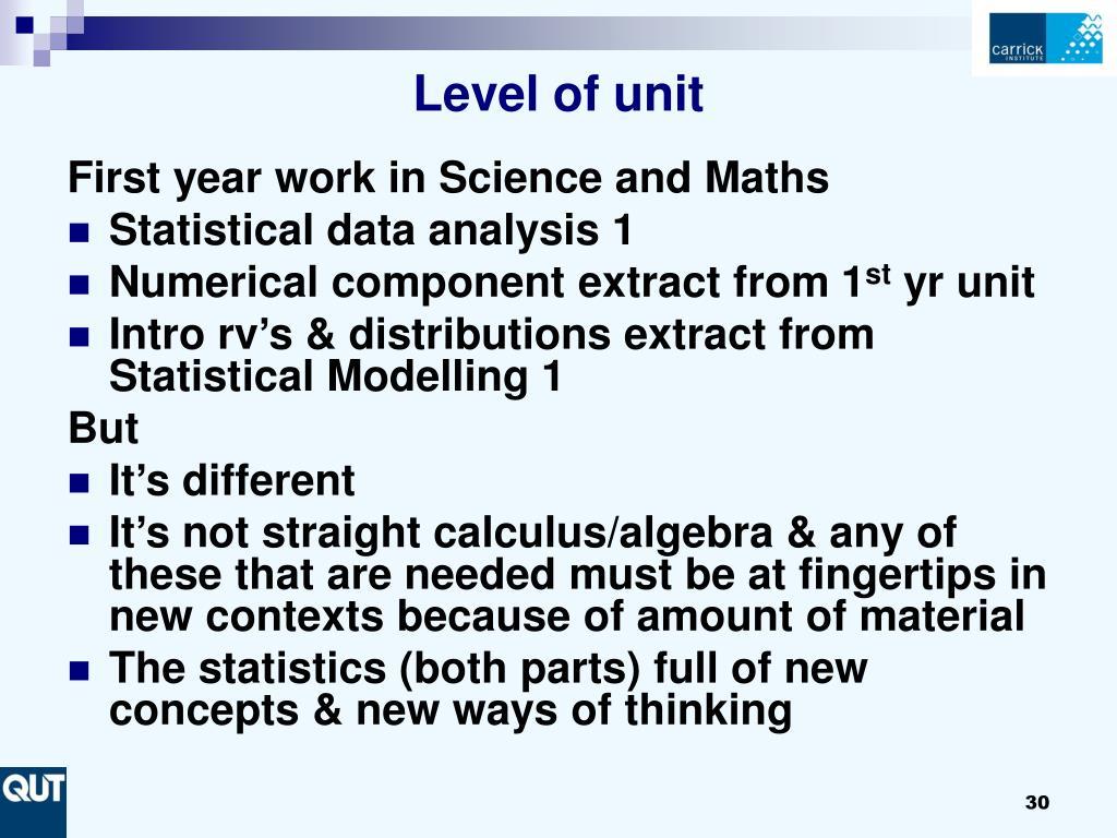 Level of unit