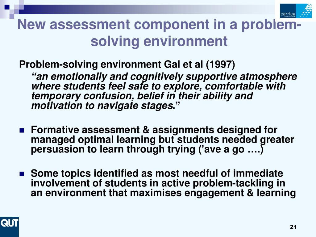 New assessment component in a problem-solving environment