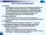 own choice group project14