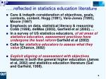 reflected in statistics education literature