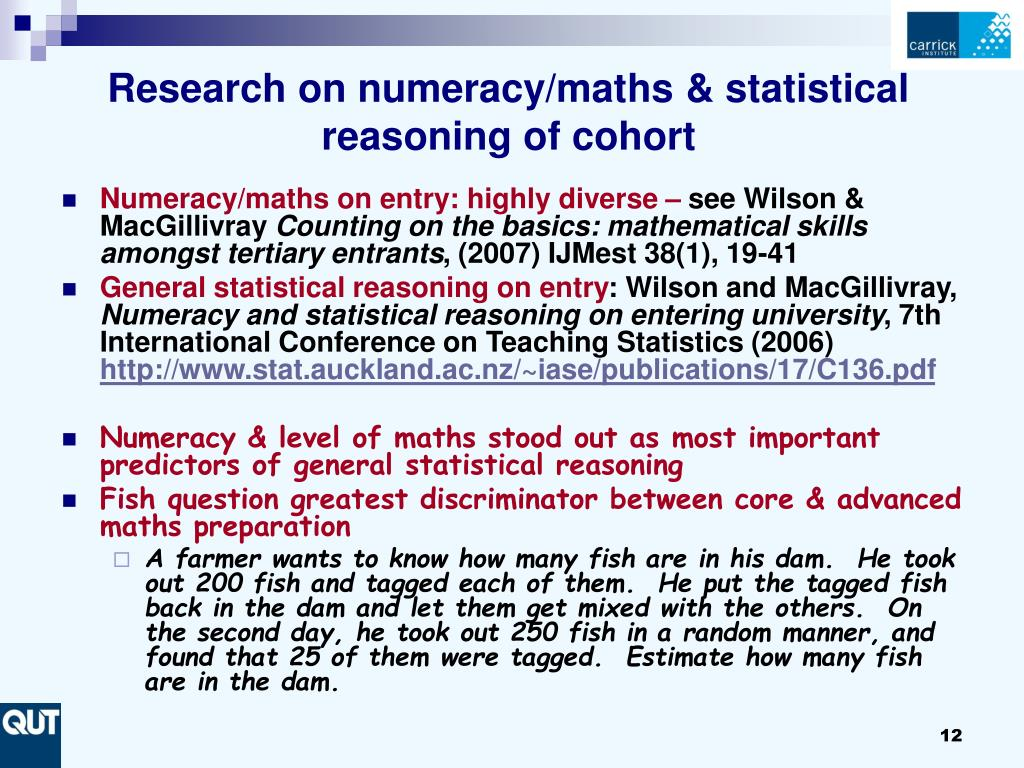 Research on numeracy/maths & statistical reasoning of cohort