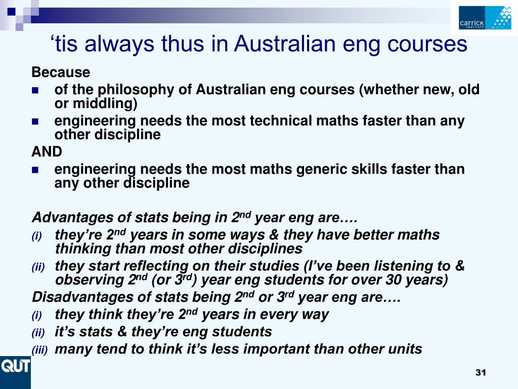 'tis always thus in Australian eng courses