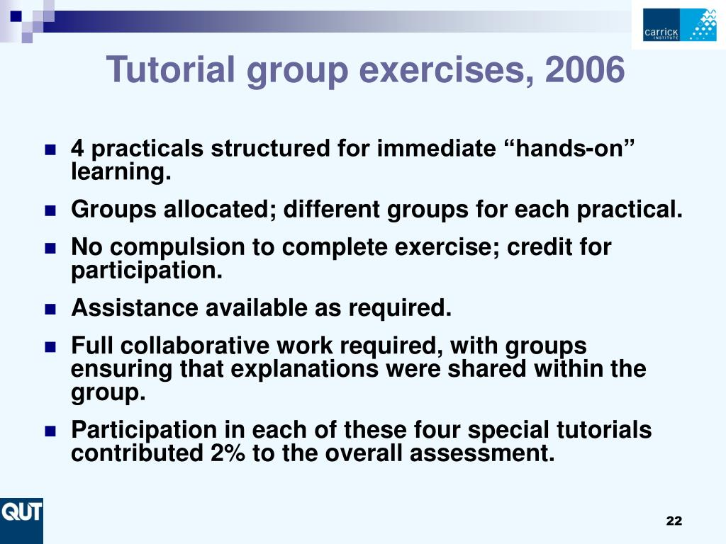 Tutorial group exercises, 2006