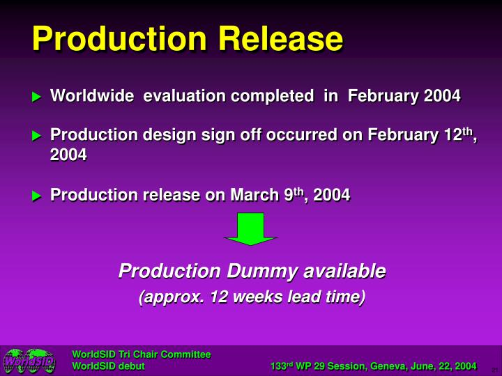 Production Release