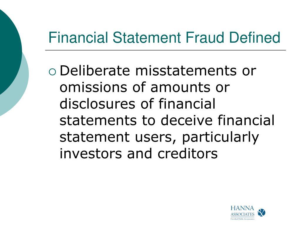 Financial Statement Fraud Defined