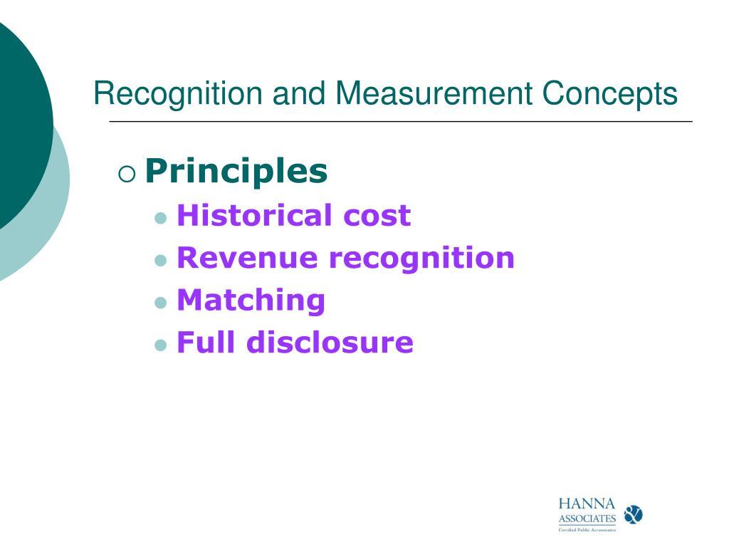 Recognition and Measurement Concepts