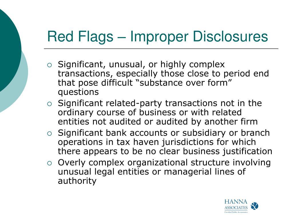 Red Flags – Improper Disclosures