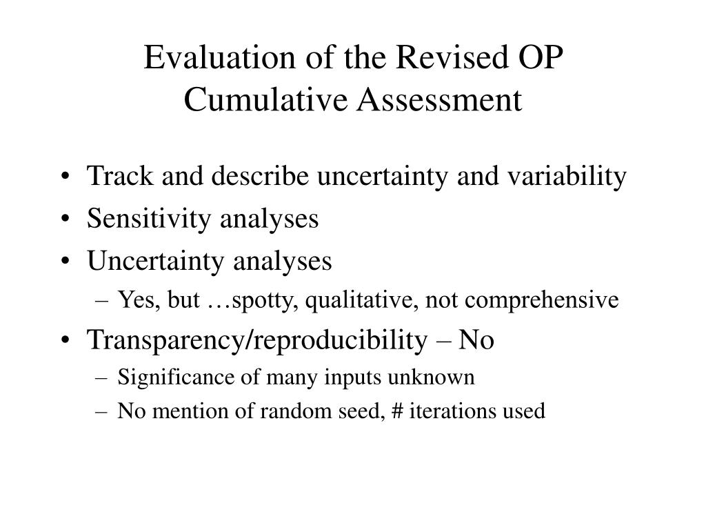 Evaluation of the Revised OP Cumulative Assessment