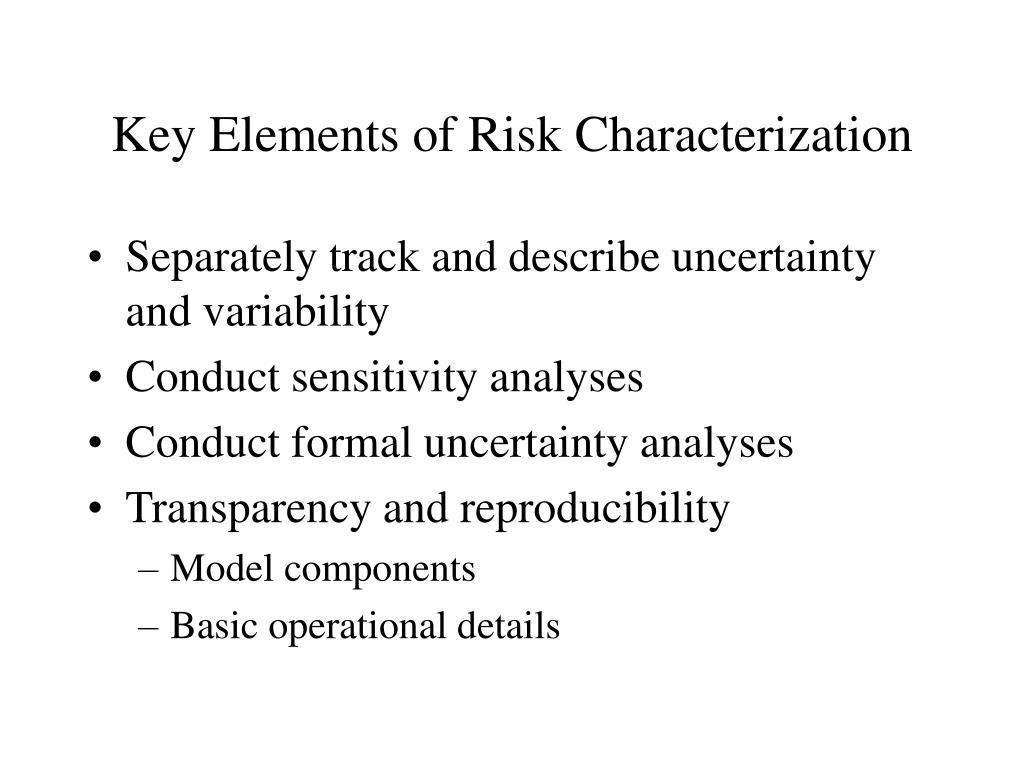 Key Elements of Risk Characterization