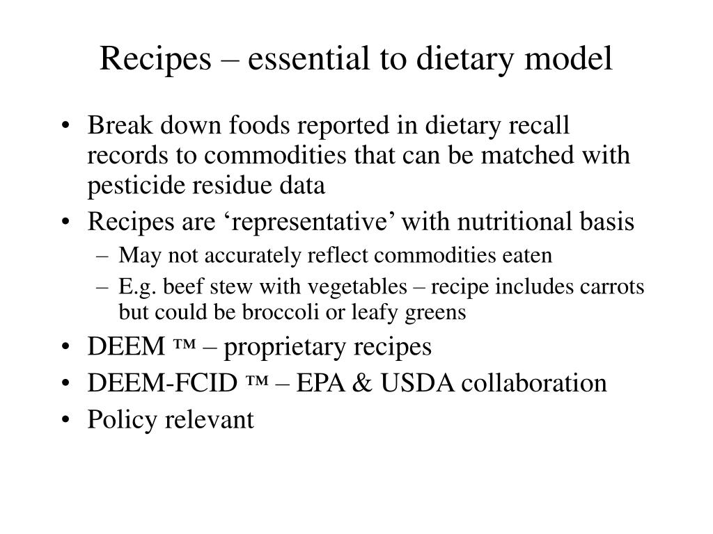 Recipes – essential to dietary model