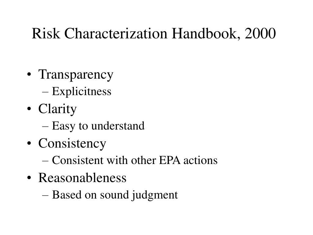 Risk Characterization Handbook, 2000