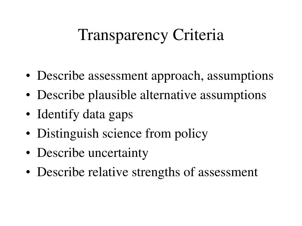 Transparency Criteria