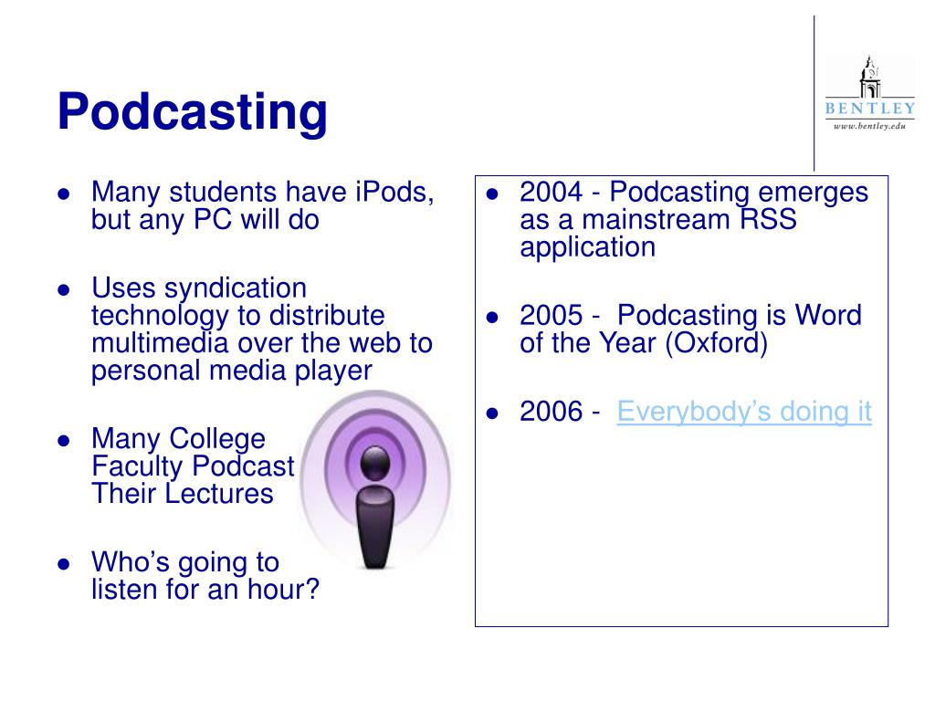 2004 - Podcasting emerges as a mainstream RSS application