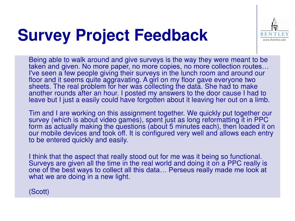 Survey Project Feedback