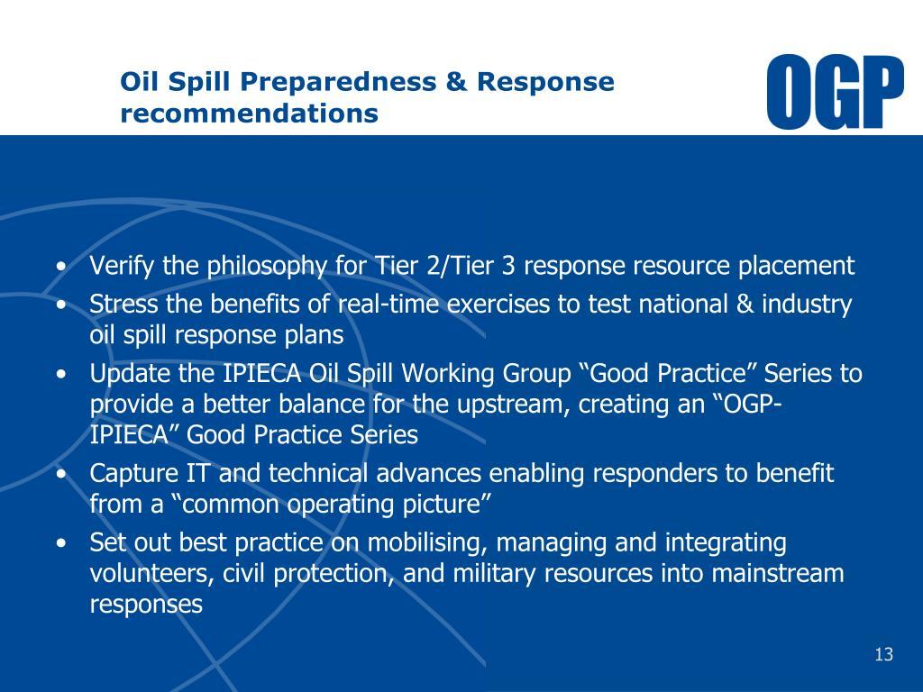 Oil Spill Preparedness & Response recommendations