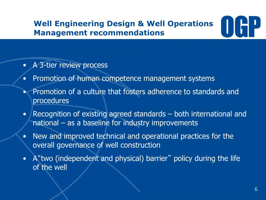Well Engineering Design & Well Operations Management recommendations