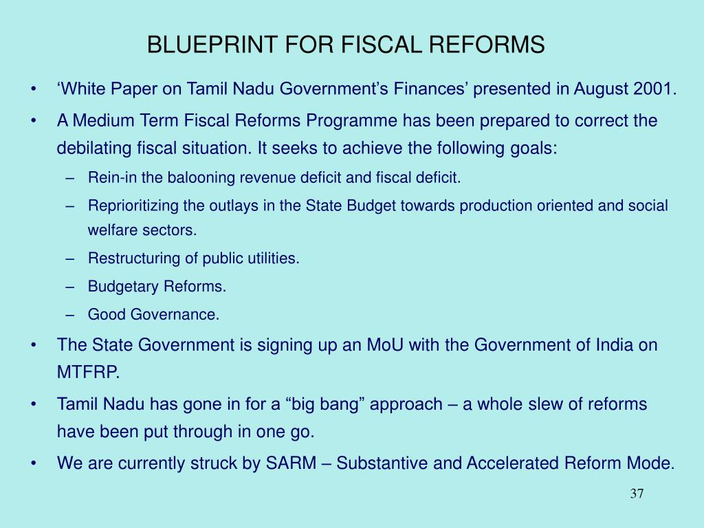 BLUEPRINT FOR FISCAL REFORMS